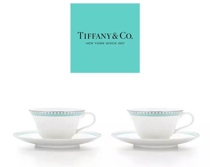 天使熊雜貨小舖~Tiffany白金藍茶杯&碟組 結婚送禮   一套2入   全新現貨