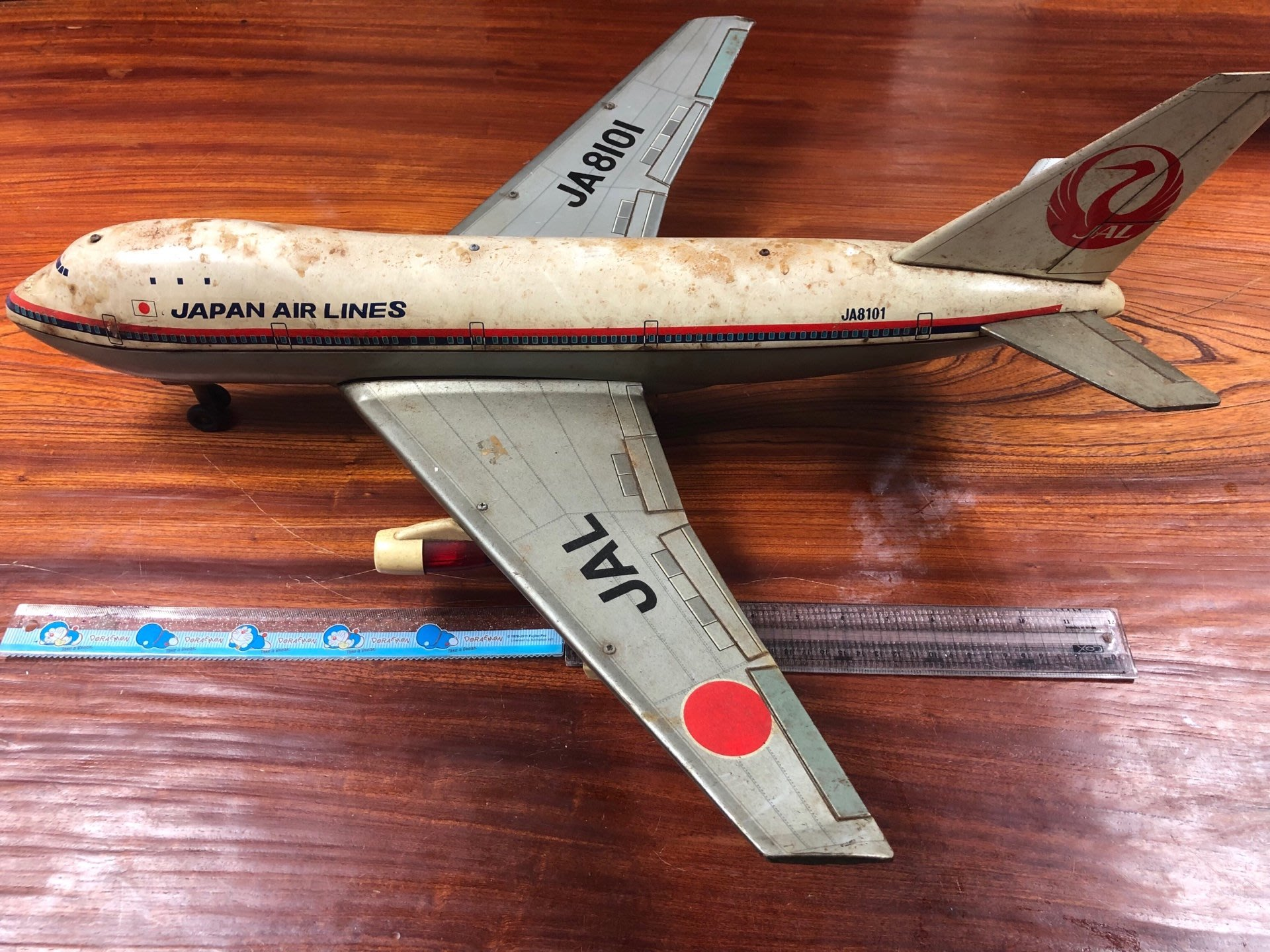 日本製大型鐵皮飛機,鐵皮玩具,發條玩具,古董玩具