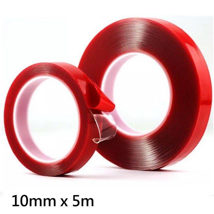 紅膜透明雙面膠10mm x 5m 無痕強力膠條 強力雙面膠 無痕壓克力膠帶 膠條【GL202】☆EZ生活館☆