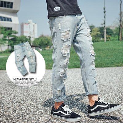 柒零年代【N9578J】潑墨破壞感淺藍隨性寬鬆牛仔褲(SS5803)