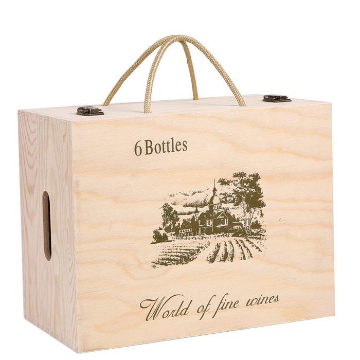 紅酒包裝盒六支裝紅酒禮盒紅酒木盒高檔實木酒盒6支紅酒木箱定制