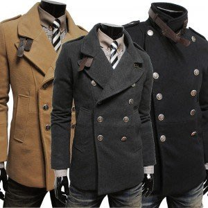 yes99buy加盟-上衣 2014秋冬새로운男士外套 戶外休閒雙排扣風衣 韓味男式毛呢大衣