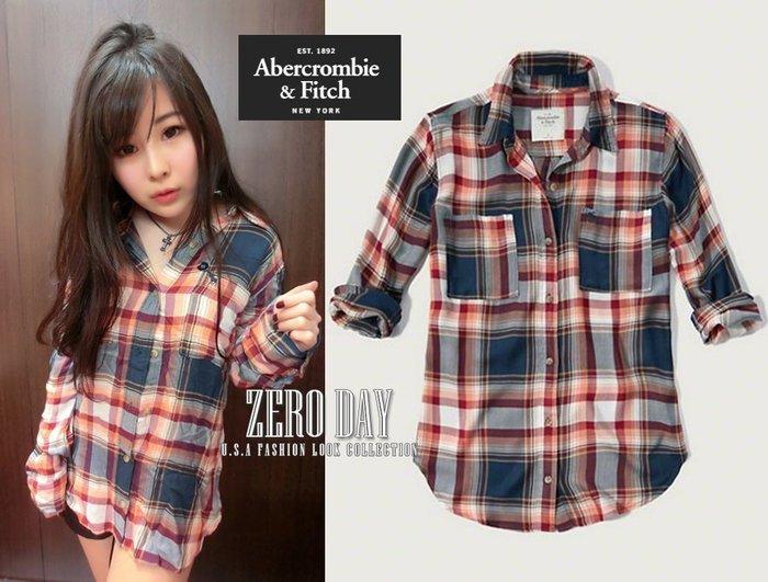 【零時差美國時尚網】A&F Abercrombie&Fitch Drapey Plaid Shirt薄款格紋襯衫外套深藍