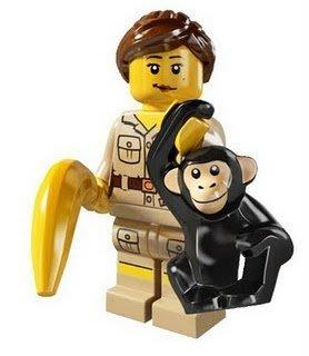 絕版品【LEGO 樂高】玩具 積木/ Minifigures人偶包系列: 5代 8805 單一人偶: 動物管理員+黑猩猩