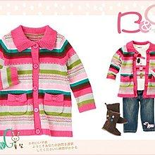 【B& G童裝】正品美國進口Crazy8 粉色多彩條紋長袖針織毛料外套12-18mos