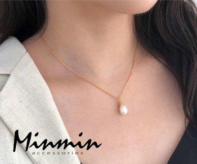 【Minmin飾品】正韓。海洋的眼淚 銅鍍24K金 珍珠項鍊