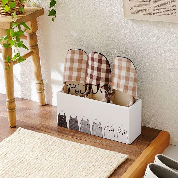 ~FUJIJO~日本存貨款~日本限定販售【可愛貓咪系列】日本製  木質 簡便型室內拖鞋架 鞋櫃 鞋架