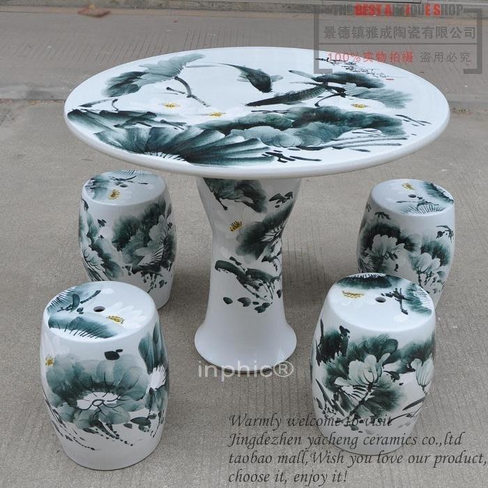 INPHIC-陶瓷桌器 《荷花》桌子 凳子 桌椅 簡易  椅套
