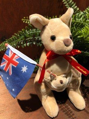 澳洲袋鼠娃娃(澳洲國旗紅緞帶版)澳洲製造