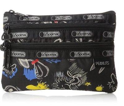 預購 美國 Lesportsac Chalkboard Snoopy 限量聯名塗鴉款 化妝包 手拿包 旅行包 收納包