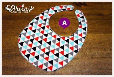 ♥grita's handmade♥純棉手作嬰幼兒圍兜兜/領巾/口水巾/三角巾/彌月禮—個性三角