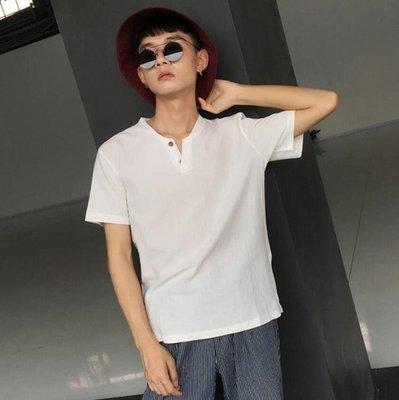 夏季亞麻短袖男士t恤韓版寬鬆日系棉麻薄款潮流半袖男夏裝體恤衫