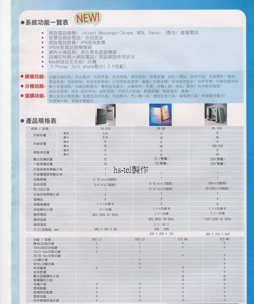 電話總機專業網...眾通DK-816...4外線8分機容量+5台12鍵顯示話機....完善的保固
