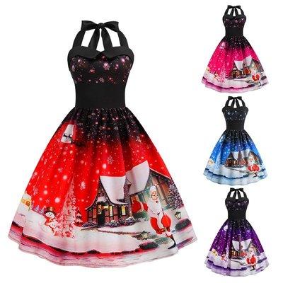 妮妮韓國服飾店~Sleeveless Christmas positioning printed big JY skirt waist
