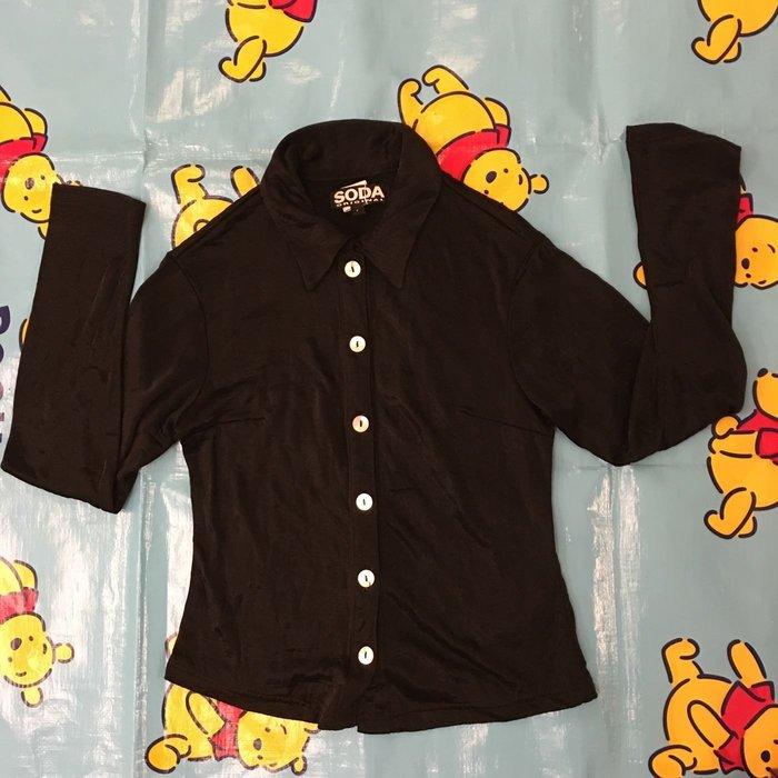 二手百貨專櫃SODA黑色長袖襯衫