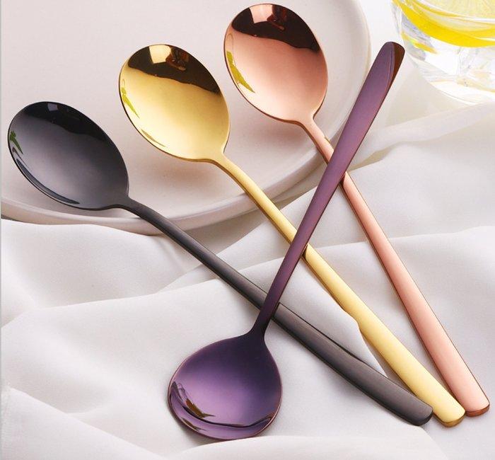 (10入790元)食用級304 時尚餐具 不銹鋼湯匙 勺子  玫瑰金 金色 黑色 紫色 餐廳 民宿 環保餐具