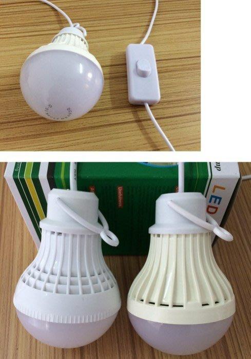 新款5W帶開關USB燈5V LED 白光燈泡露營燈夜市燈緊急照明工燈野營戶外強光移動電源行動電源5V燈泡帶5WLED
