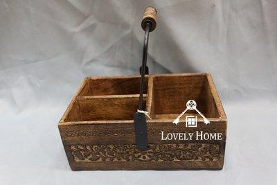 (台中 可愛小舖 )印度古典鄉村風木質手刻感復古雕花紋路手把置物盒方形盒木盒雕花和置物盒小物盒收納盒