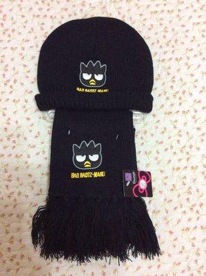 Shrimp 酷企鵝 黑色兒童保暖 圍巾+帽子組~特價出售