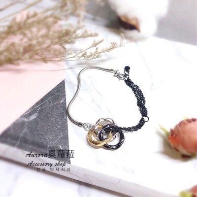 韓國撞色三環鈦鋼手鍊《奧蘿菈Aurora韓國飾品》附不織布收納袋拭銀布
