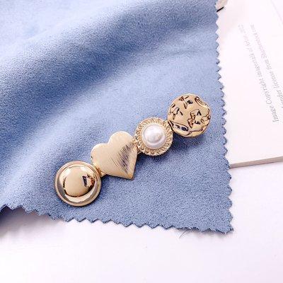 韓國❤️金屬 心型 珍珠 壓夾 髮夾 髮飾【Verina's韓系美飾】