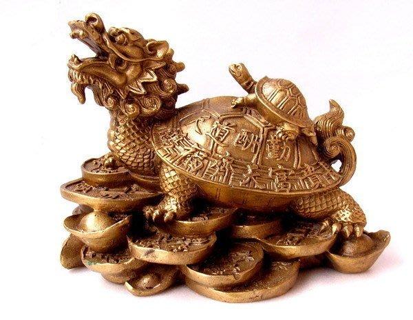 小風鈴~精緻老銅雕招財子母龍龜(榮歸)~重約:585g 鴻福齊天.富貴長壽