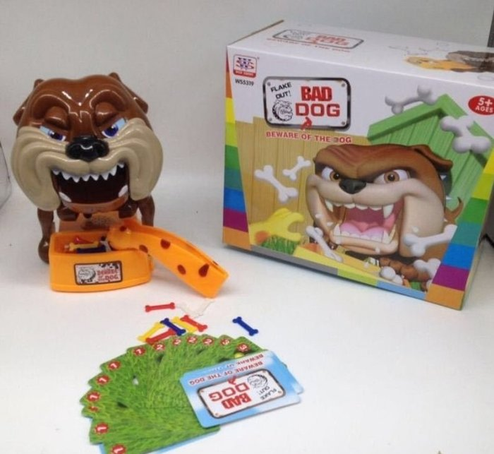 WS5319 咬人惡犬 小心惡犬 驚嚇偷骨頭遊戲 家有惡犬 番犬遊戲 桌游 親子遊戲聚會遊戲整人玩具 { 大隻的 }