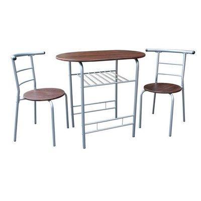 有現貨【外銷歐美】高級鋼管桌椅組-洽談桌椅組-會客桌椅組-餐桌椅組-書桌椅組-(1桌2椅)-深胡桃木色CH2056-DW