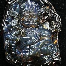 多米尼加藍珀 多明尼加藍珀 藍珀紅皮洞雕不動明王(付GIC檢定證書)