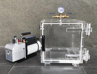 全透明30立方型真空脫泡機( 1HP VE-280D二段式高真空幫浦)--矽膠/樹脂/GK模型-各膠質類脫泡真空機