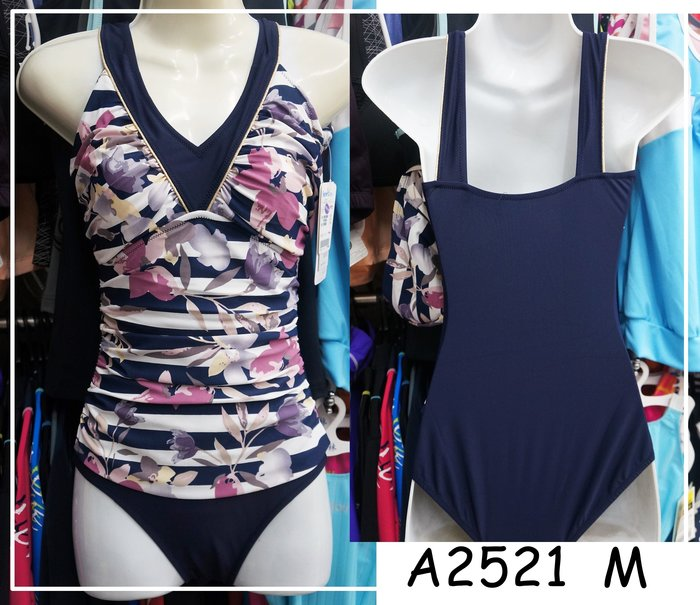 KINI零碼M 出清1280元-名人泳裝A2521-連身三角泳衣-名媛時尚風 靚紫花紋(加送S柔軟型胸墊)