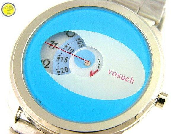 @(六四三精品)@VOSUCH(真品)藍式軍錶.超神祕橫式(三針一線)手錶..