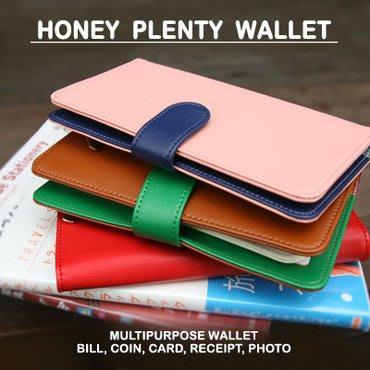 ❅PAVEE❅【現貨】韓國monopoly~ Honey Plenty Wallet 格紋內裡皮革長夾~ 粉紅色