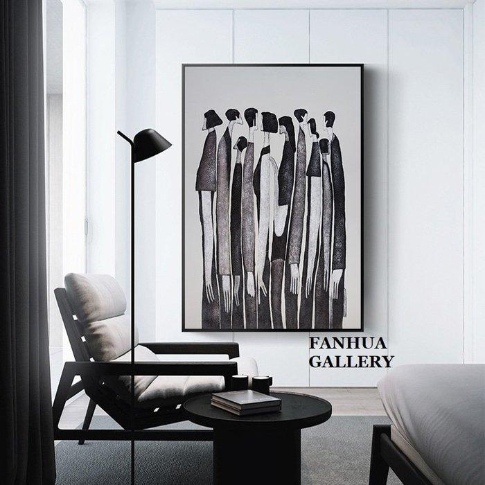 C - R - A - Z - Y - T - O - W - N 黑白城市人群藝術掛畫現代簡約抽象人物裝飾畫客廳臥室辦公室壁畫北歐時尚風格樓梯間玄關巨幅掛畫