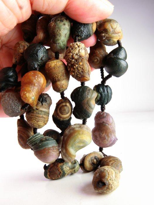 天然戈壁彩葫蘆眼石瑪瑙搭紫羅蘭眼石葫蘆珠串項鍊 阿拉善瑪瑙 戈壁瑪瑙