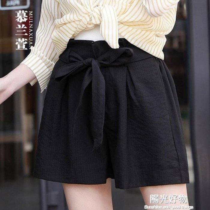 特賣高腰休閒短褲女夏新款闊腿五分褲寬鬆韓版百搭花苞熱褲薄