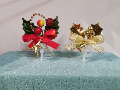 聖誕-金葉子果子叉//冬青綠葉冬紅果子青青綠葉花叉//            立體插牌