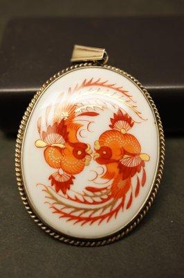 德國名瓷麥森Meissen  紅釉鳳凰綴24K金  墜飾 一級典藏品 歡迎提問詢價