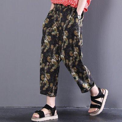 夏裝新款韓版寬松復古印花松緊腰棉麻休閑褲女