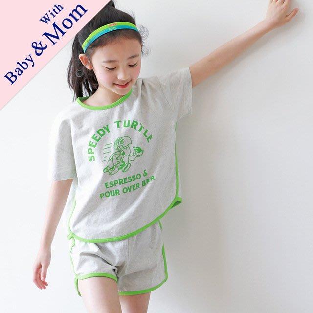 iKIDS♬2019夏季 新款 韓版 男童 女童 中童 大童 螢光邊 快速龜 灰色 短袖 套裝 親子裝(預購) PO