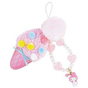 *凱西小舖*日本進口三麗歐正版MELODY美樂蒂毛茸粉色甜筒冰淇淋手機吊飾