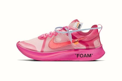 Nike x OffWhite Off-White Zoom Fly Virgil Abloh LV React Foam 透明 Pink 粉紅色 US8.5