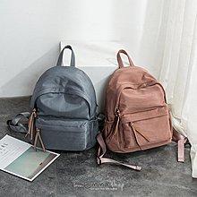 EmmaShop艾購物-韓 早春簡約風防水尼龍配真皮大容量後背包/霧霾藍/乾燥玫瑰色