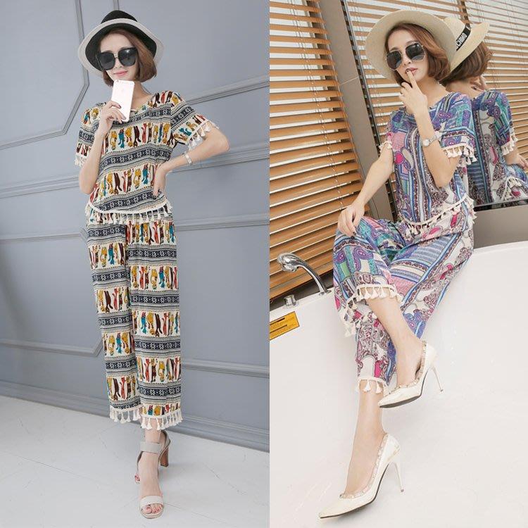 棉绸套装女夏装可外穿2018夏季民族风时尚七分裤阔腿裤两件套女装