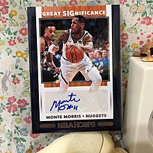 2019-20 NBA Hoops Great Significance Monte Morris Auto Denver Nuggets No.GS-MMS