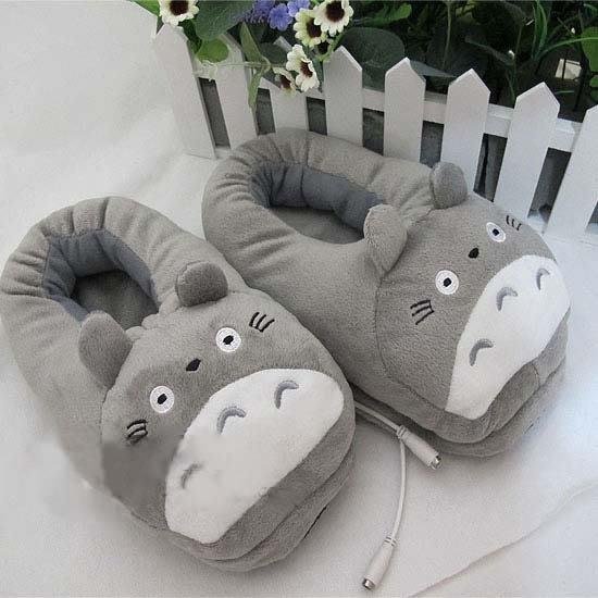 冬季全包跟動漫卡通龍貓totoro電腦居家拖鞋USB電暖腳寶發熱鞋 可愛貓貓毛拖 保暖鞋