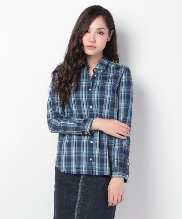 ☆注目の日本百貨公司品牌ELLE 秋冬新款亮眼藍黃藍格紋長袖襯衫☆