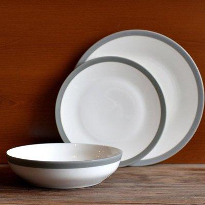 聚吉小屋 #熱賣#北歐高冷范輕奢盤子餐具牛排盤沙拉盤霧灰啞光手繪描邊氣質款菜盤(價格不同 請諮詢後再下標)
