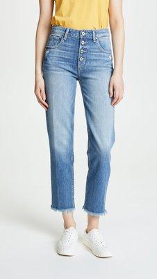 ◎美國代買◎Paige Denim Sarah straight抽鬚褲口帶白的藍刷色高腰排扣藍刷色八分牛仔褲