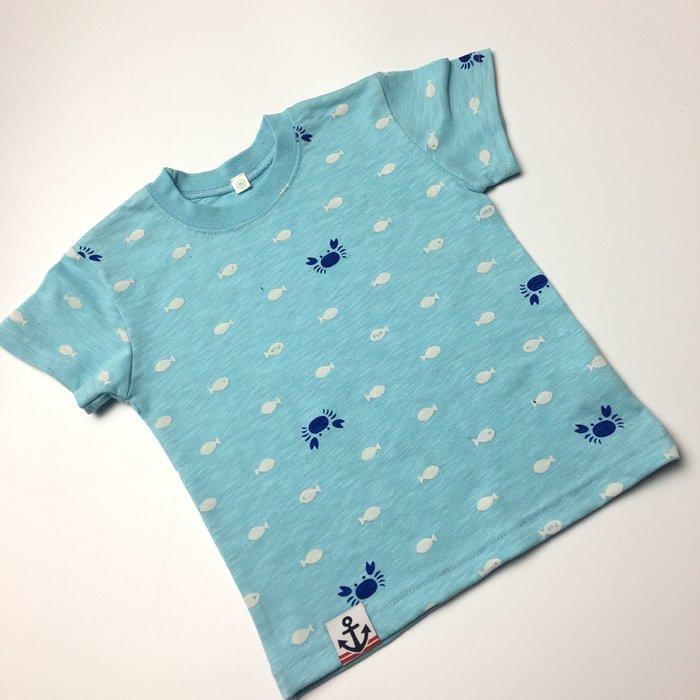 ☆草莓花園☆DD27 日系藍色海洋可愛小魚   兒童短袖衣服 上衣T恤 純棉童 兒童 童T恤
